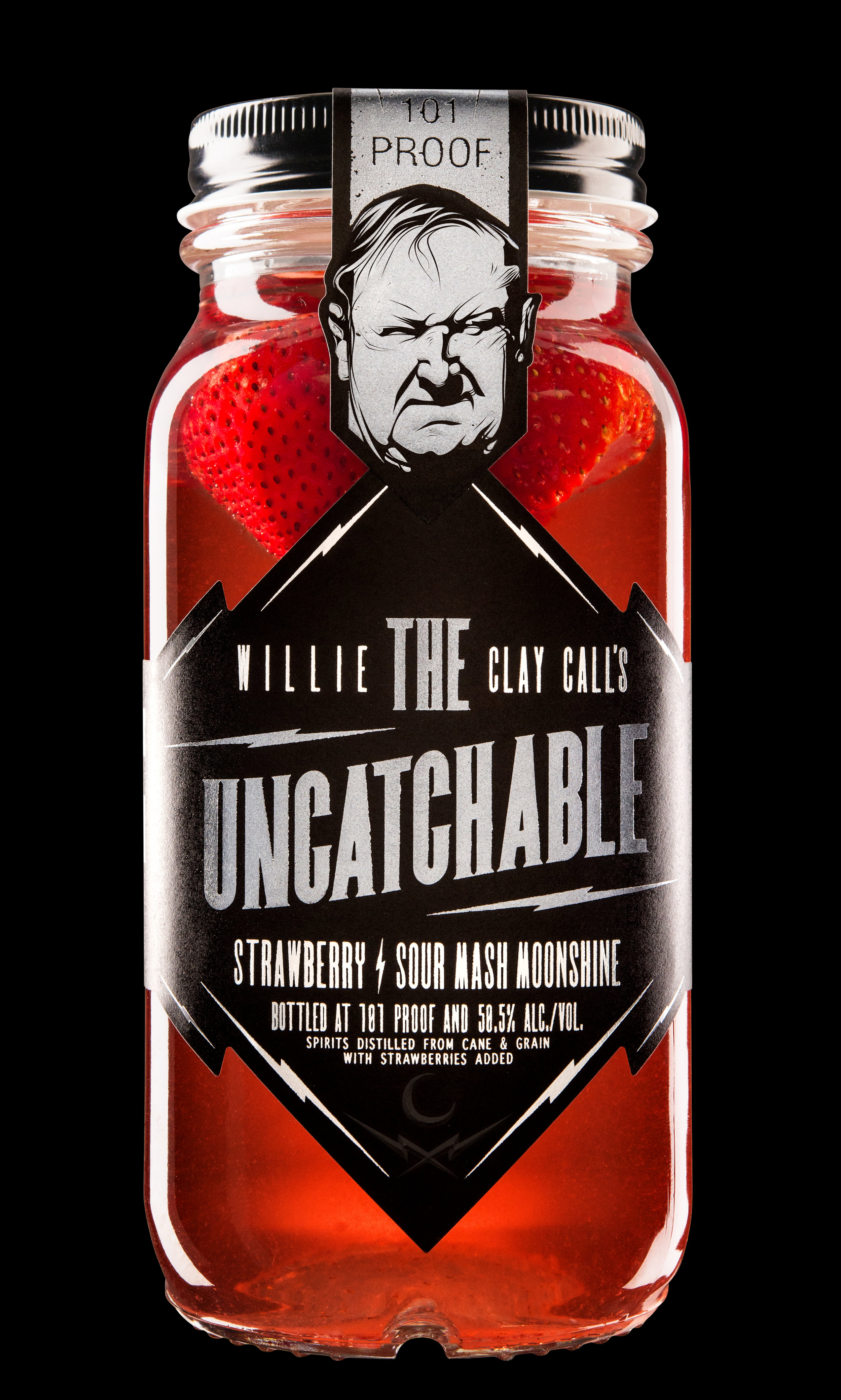 101 Proof with 100% real strawberries added. No artificial colors or flavors in this 'shine.