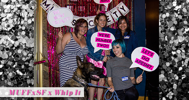 We had a MUFF pup on premises! The MUFFxSF producers w/ Mini MUFF filmmaker, Kate Marks, and MUFF Volunteer, Fiona!