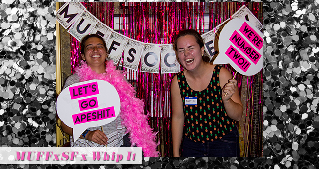 Two MUFFxSF Society members have way too much fun in our photobooth. :)