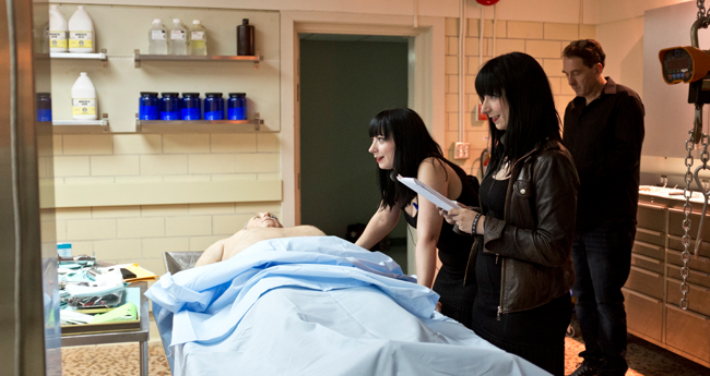The Soska Sisters film a scene from See No Evil 2.
