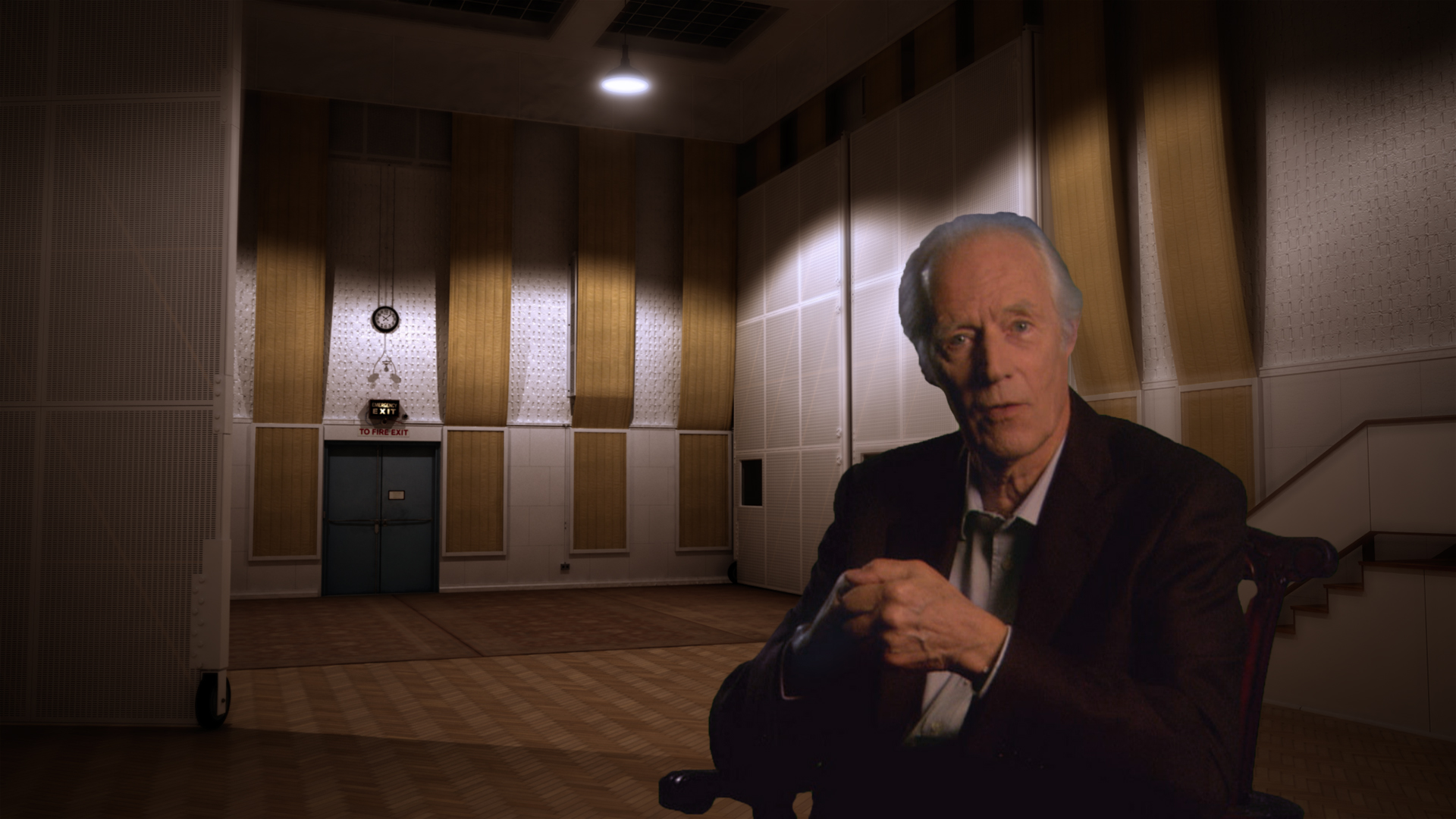 Sir George Martin green screen - CG Abbey Rd Studio #1 circa 1964 modeled in 3D Max, and rendered with V-Ray. For the PBS documentary Soundbreaking: The History of Recorded Music.
