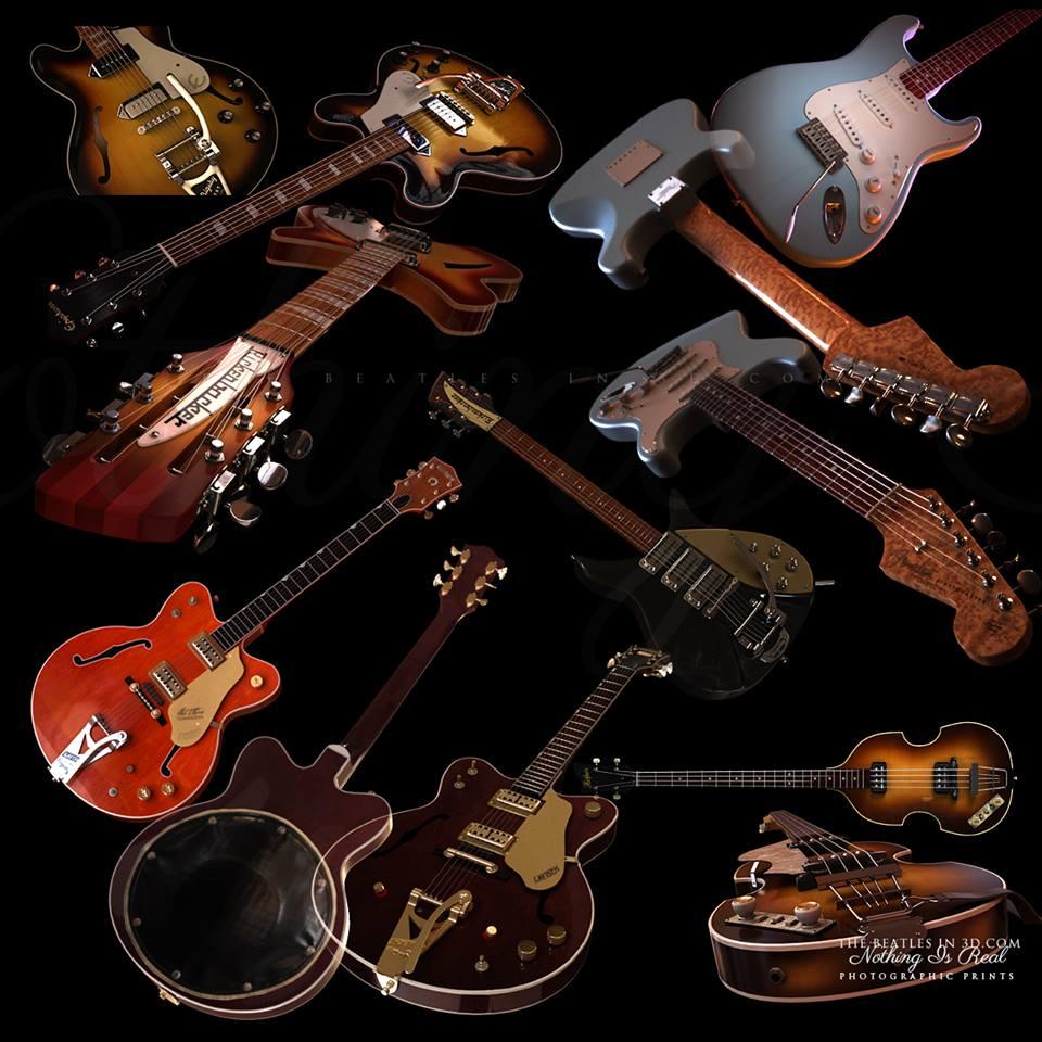 Beatle guitars - high resolution 3D models.