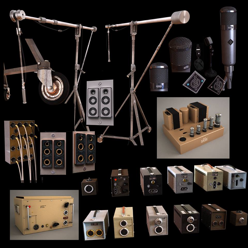 Highly detailed recording studio equipment 3D assets.