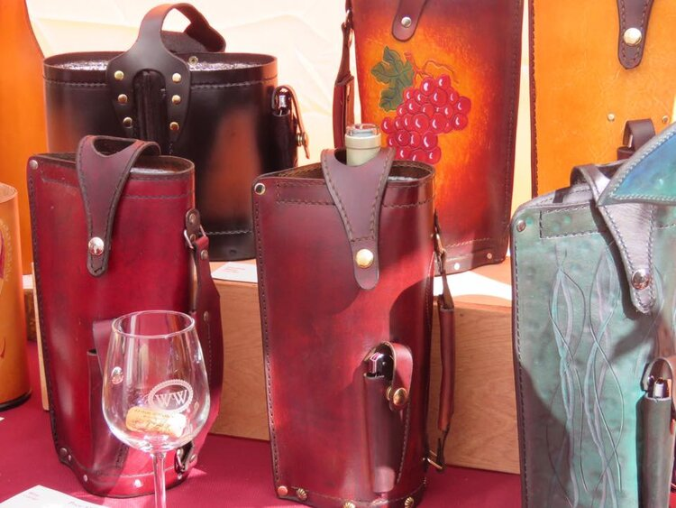 Warren Dorer's Leatherworks Leather Wine Bags - Grey Whisker Studios.jpg