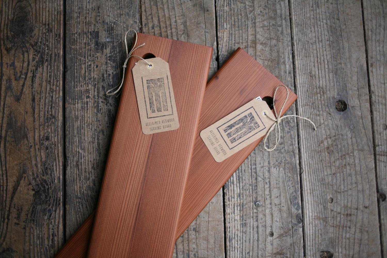 Redwood serving boards.