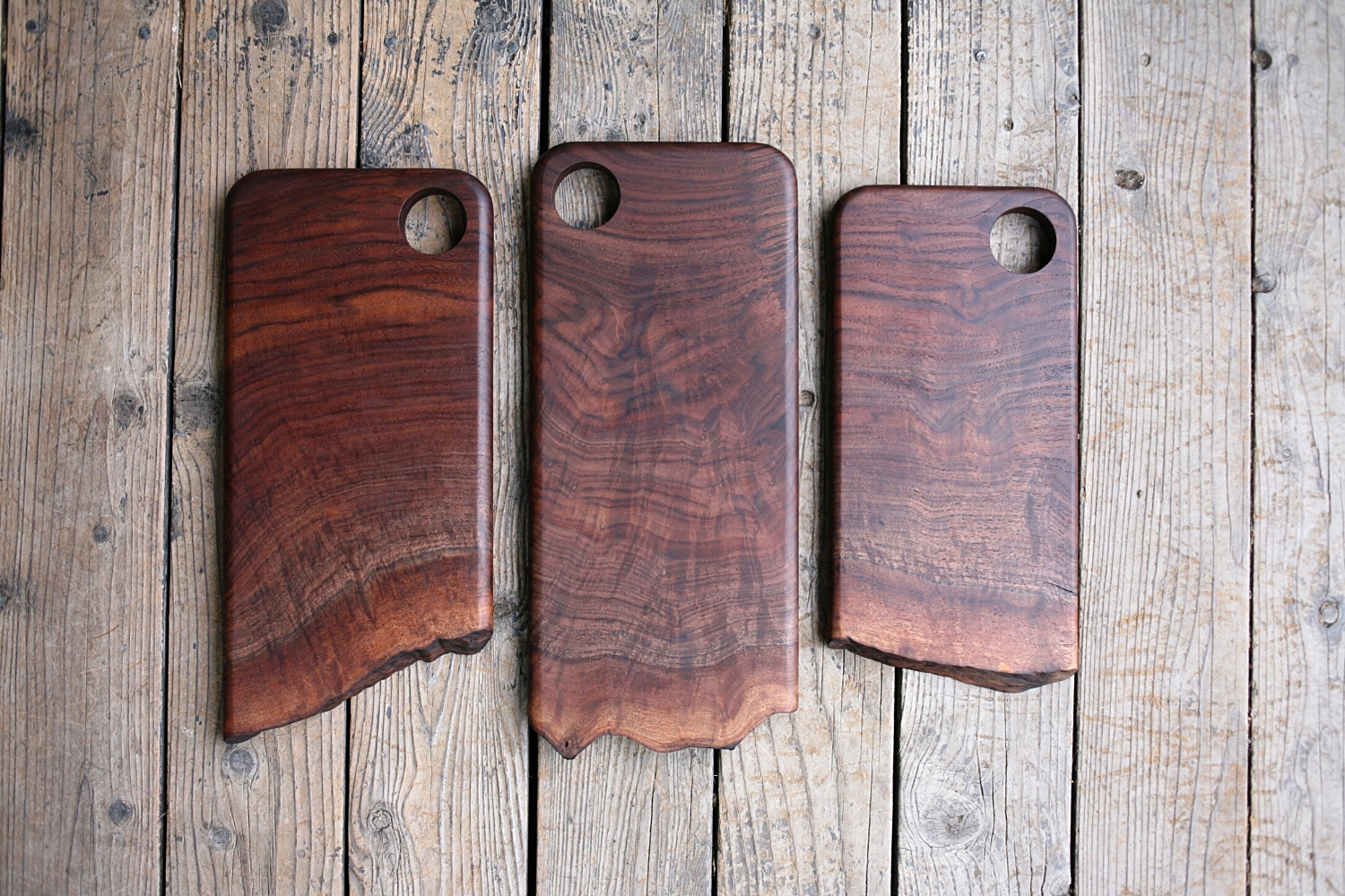 Walnut live edge cutting and serving boards.