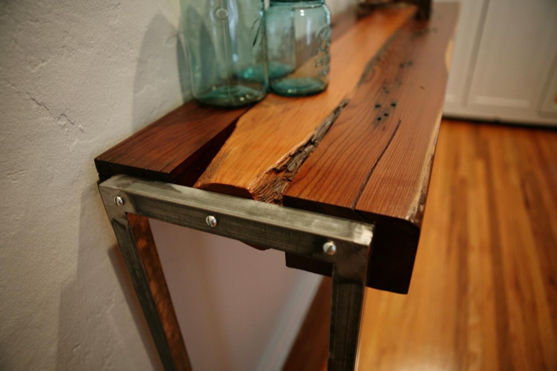 Entryway table with original farm fence post edges.