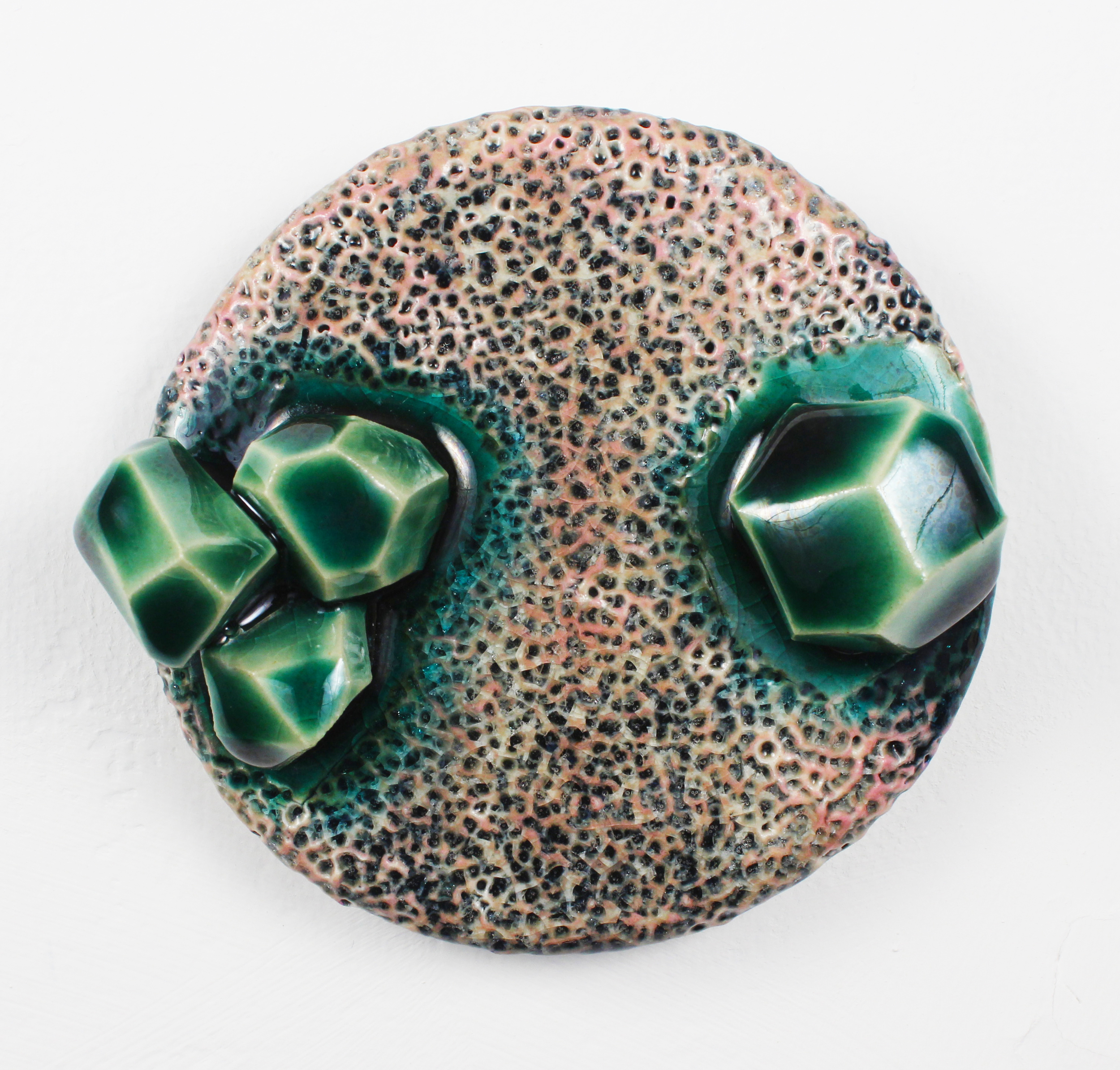 Small Wall Disk with Emerald Bubbles, 2015