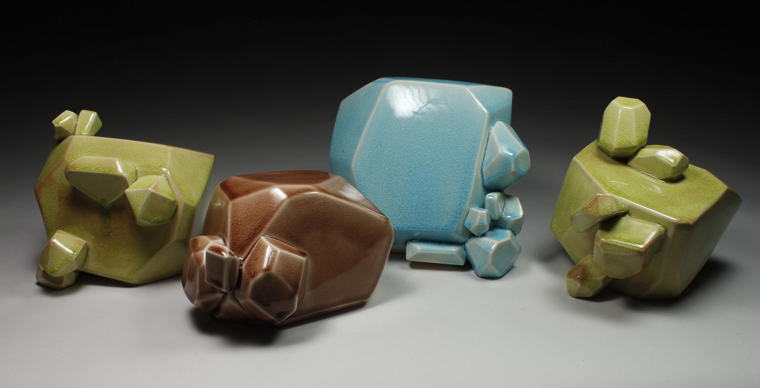 Foursome of Bubble Chunks (Chartreause 2, Maroon 1, Aqua 1, Chartreause 1), 2017