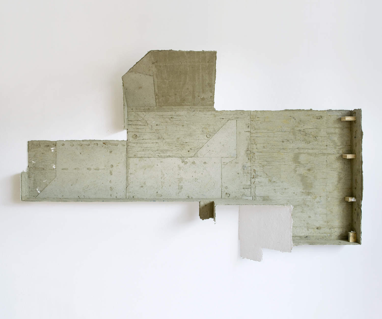 "Phaxa , 2017, papier maché, concrete, plywood, and gesso, 41"" x 68"" x 11"""