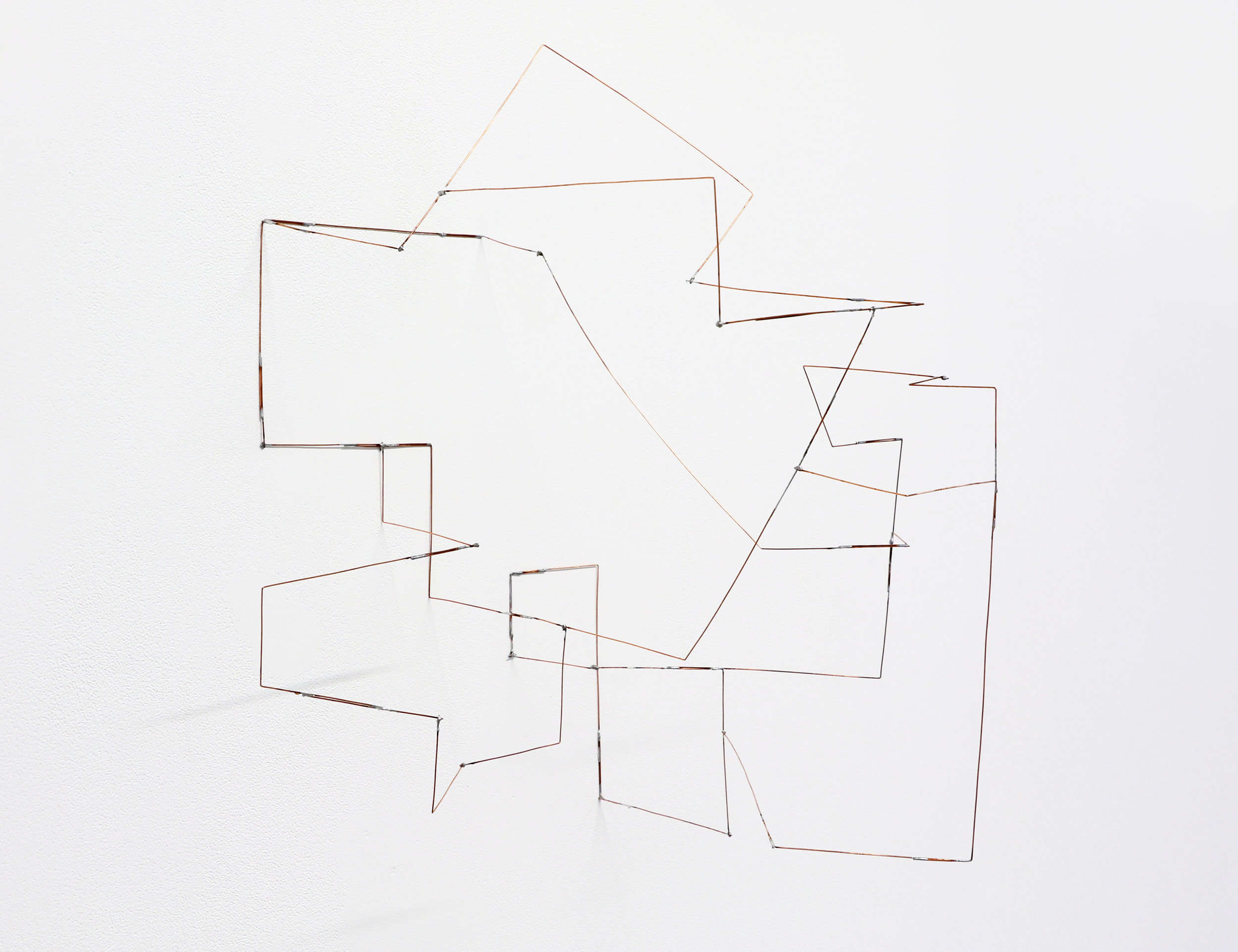 """Quindt , 2019, soldered copper-coated steel wire, 19"""" x 16"""" x 13"""""""