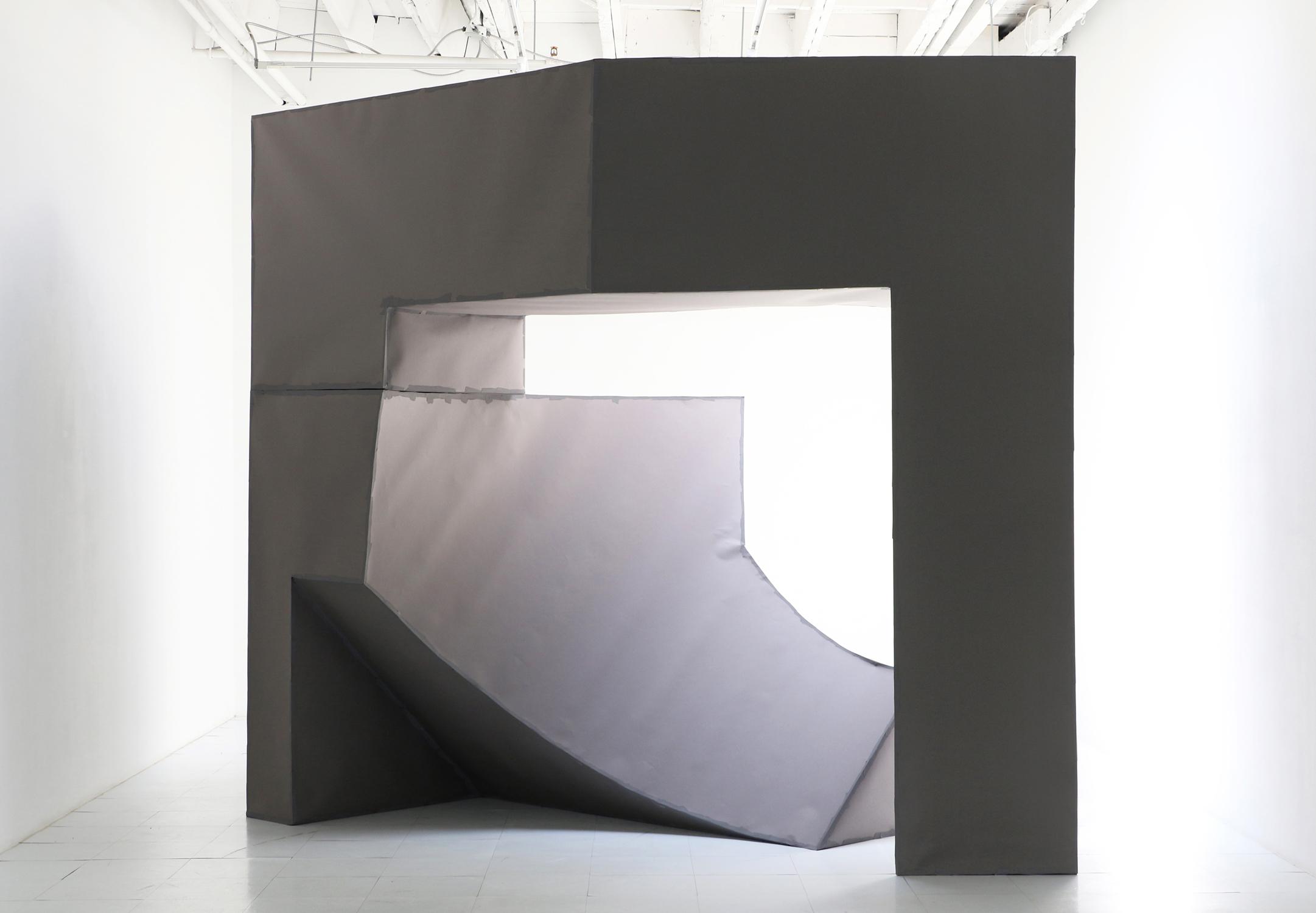 "Toriocade , 2019, site-specific paper installation, 95"" x 104"" x 89""  Georgia Scherman Projects, Toronto"