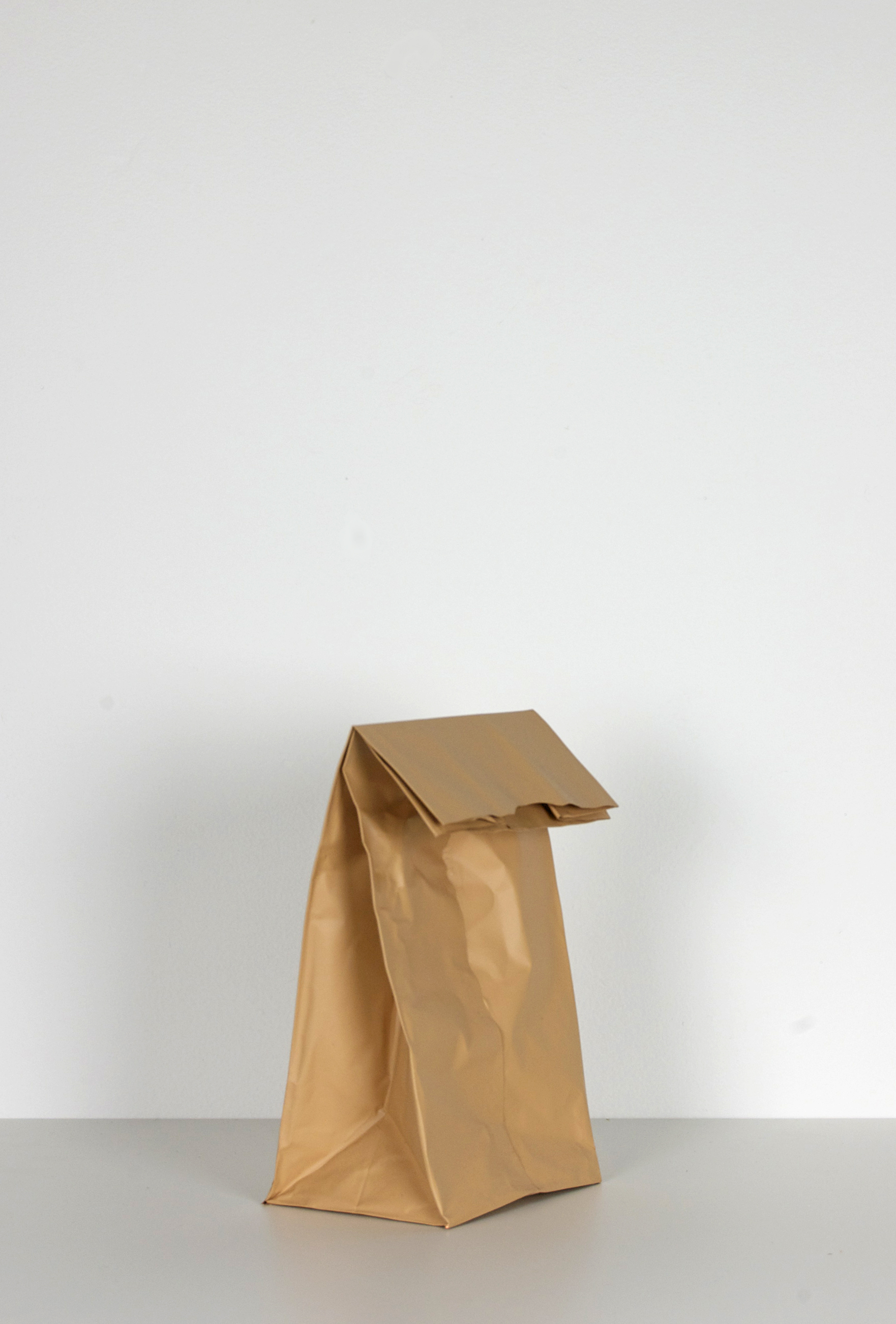 "Beer Bag Series 2, 2014, Acrylic on copper, 9"" x 6"" x 4"""