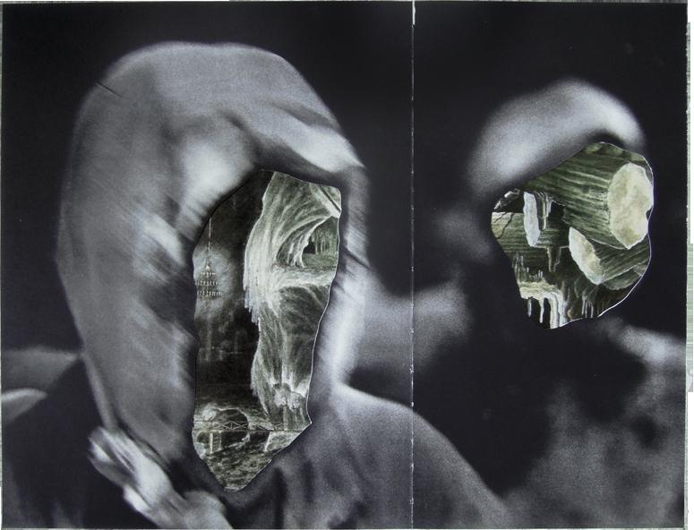 "Caverns, 2014, Underworlds and LIFE Magazine, 18"" x 11""."