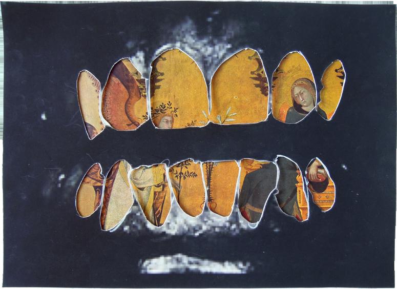 "Floss, 2014, photocopy and Italian Painting, 11"" x 8""."