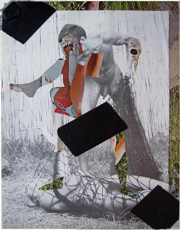 "Beach Reverse II, 2013, Sunscope Magazine and gaffers tape, 9"" x 12""."