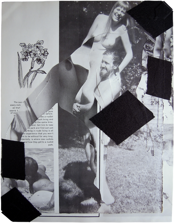 "Beach Reverse, 2013, Sunscope Magazine and gaffers tape, 9"" x 12""."