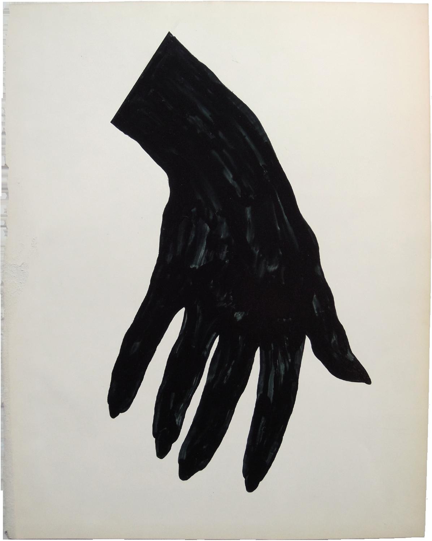 "Black Nail Polish, 2013, nail polish on paper, 11"" x 13""."