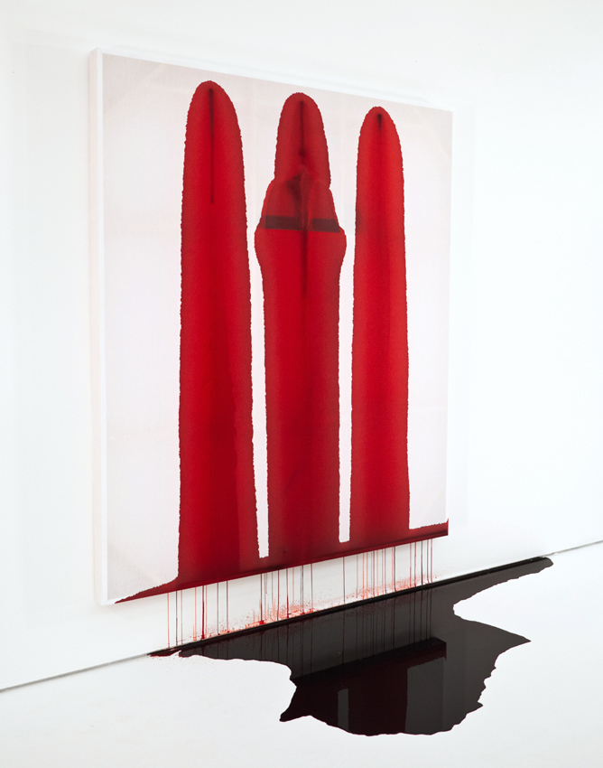 "Blood Reflects (The Bleeding Painting), 2012, performance of swine blood on linen, 62"" x 70"".   WATCH VIDEO OF PERFORMANCE"