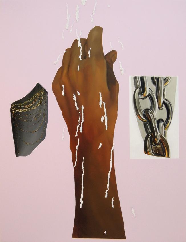 """Gilded, 2016, acrylic,oil and caulk on canvas, 52"""" x 67""""."""