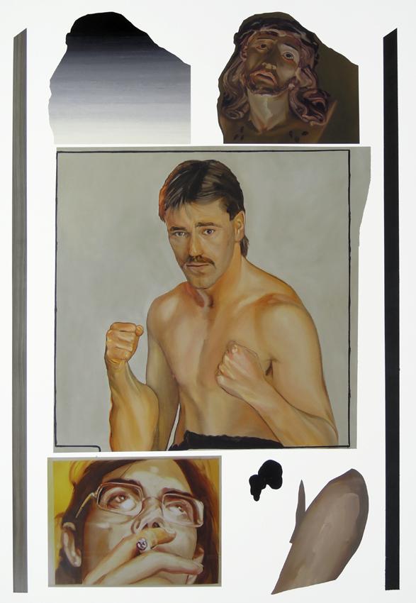 """Su Prem A Cy, 2016, acrylic, tar, nail polish and oil on canvas, 62"""" x 90""""."""