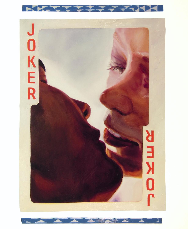 "Joker, 2017, oil and acrylic on canvas, 50"" x 69""."