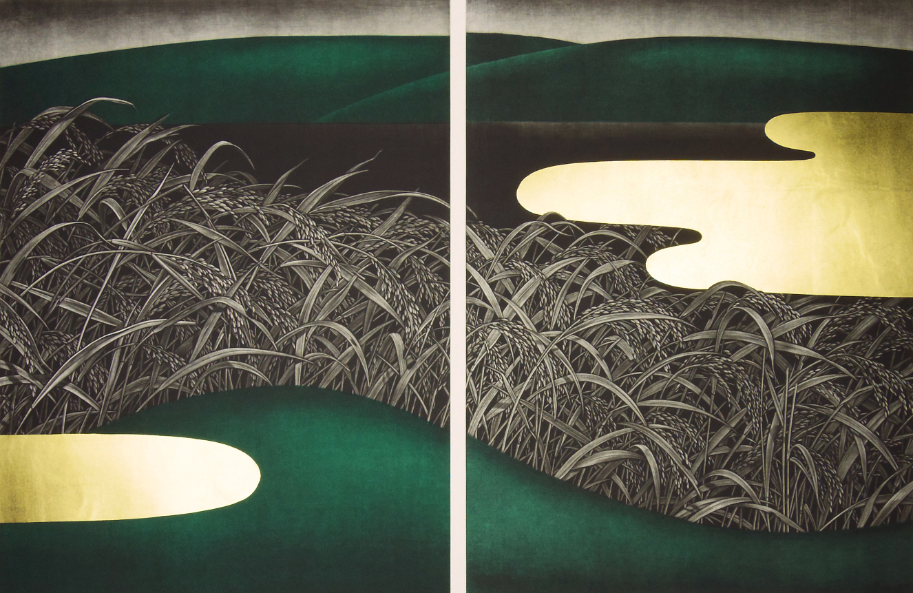 Katsunori Hamanishi Silence Work No.5, 2003 Mezzotint with gold leaf Diptych Edition of 50