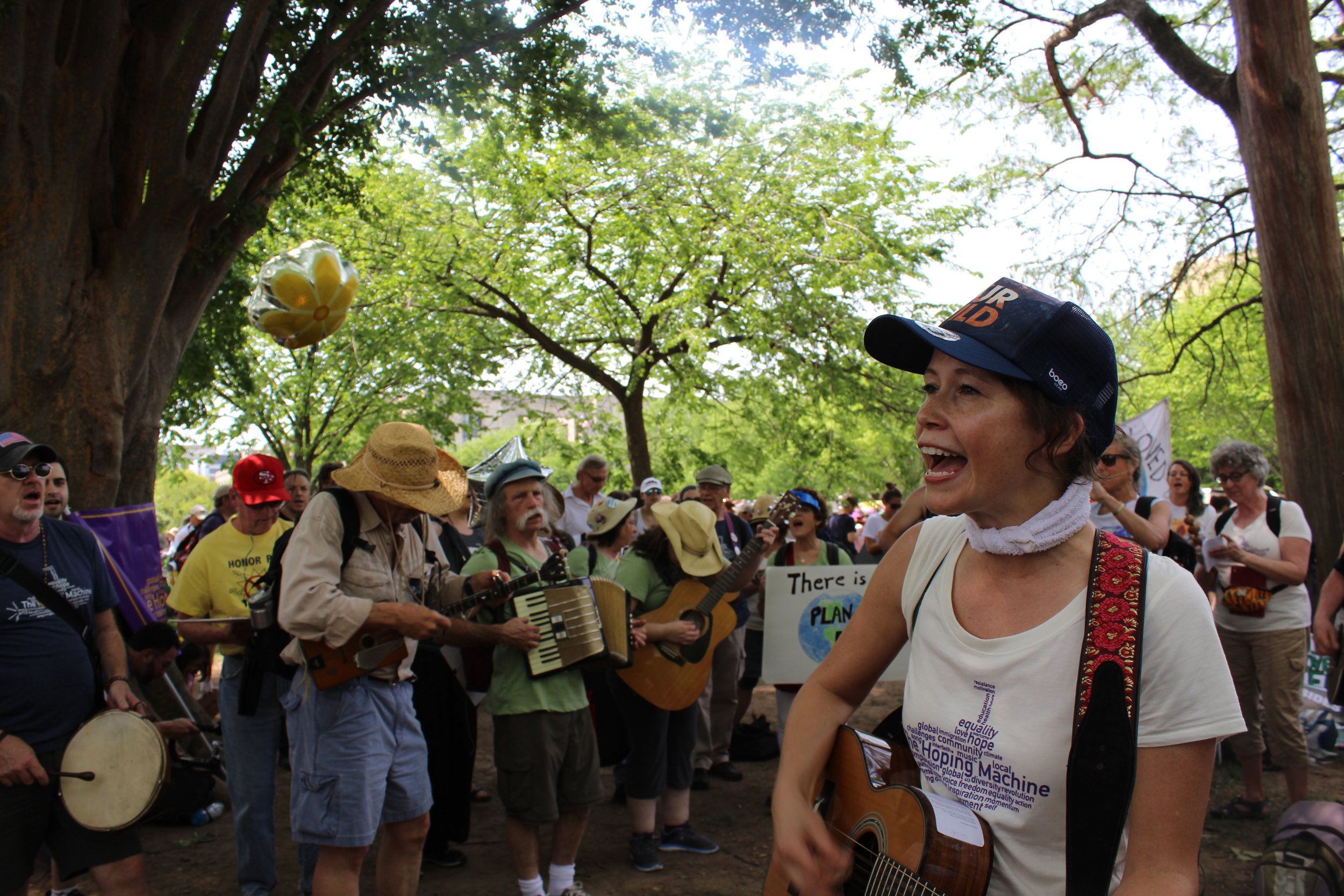 Sarah Lee Guthrie and the Hoping Machine singers and musicians are joined by fellow demonstrators during the People's Climate March in the nation's capitol April 29.