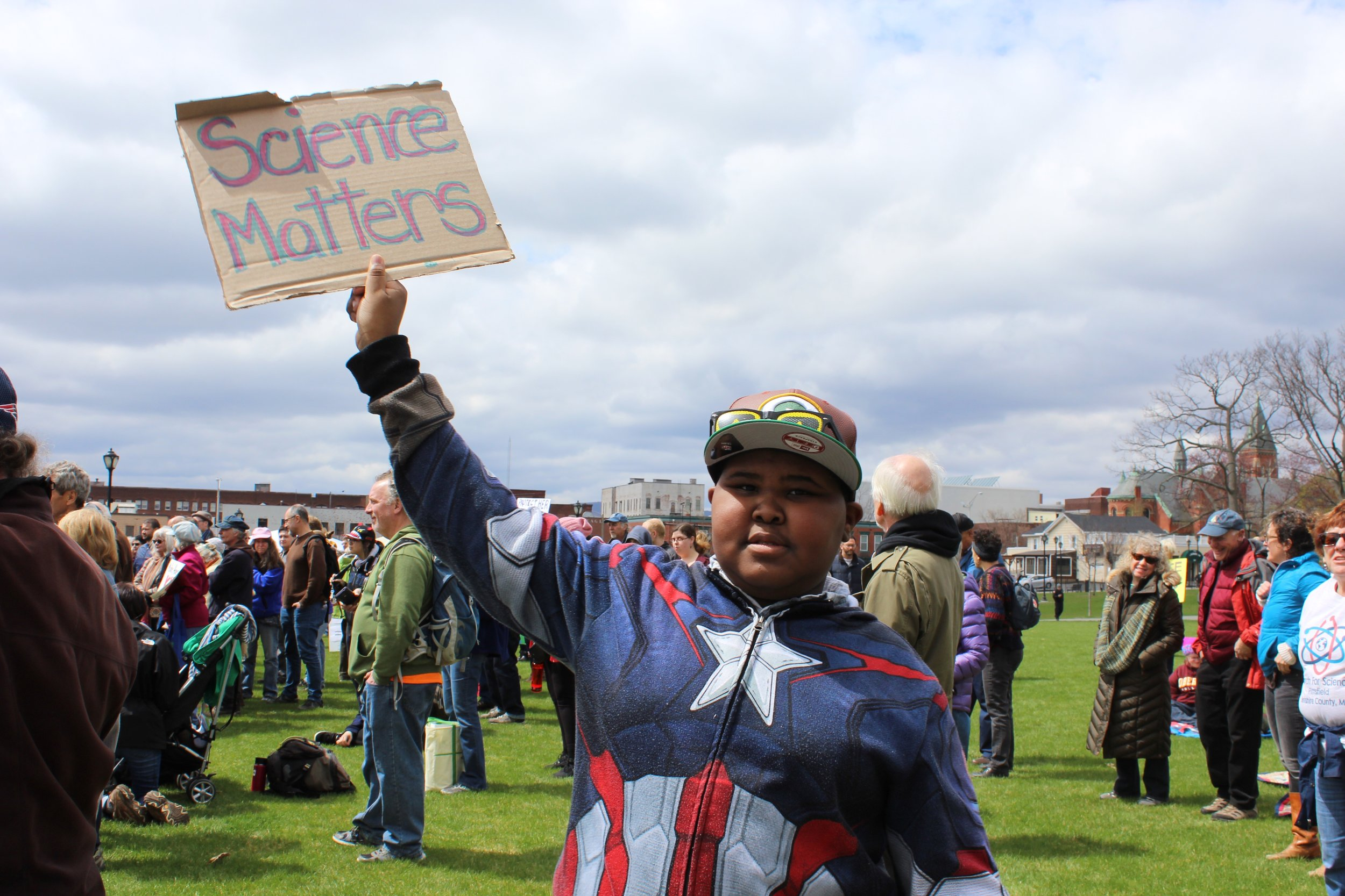 Amir Young, 11, was one of nearly 400 people who showed up at Pittsfield's First Street Common April 22 to support science and fact-based policies.