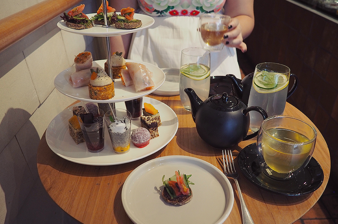 Yardmill Kitchen and Grocery Raw Vegan High Tea Blog Review  - high tea stand