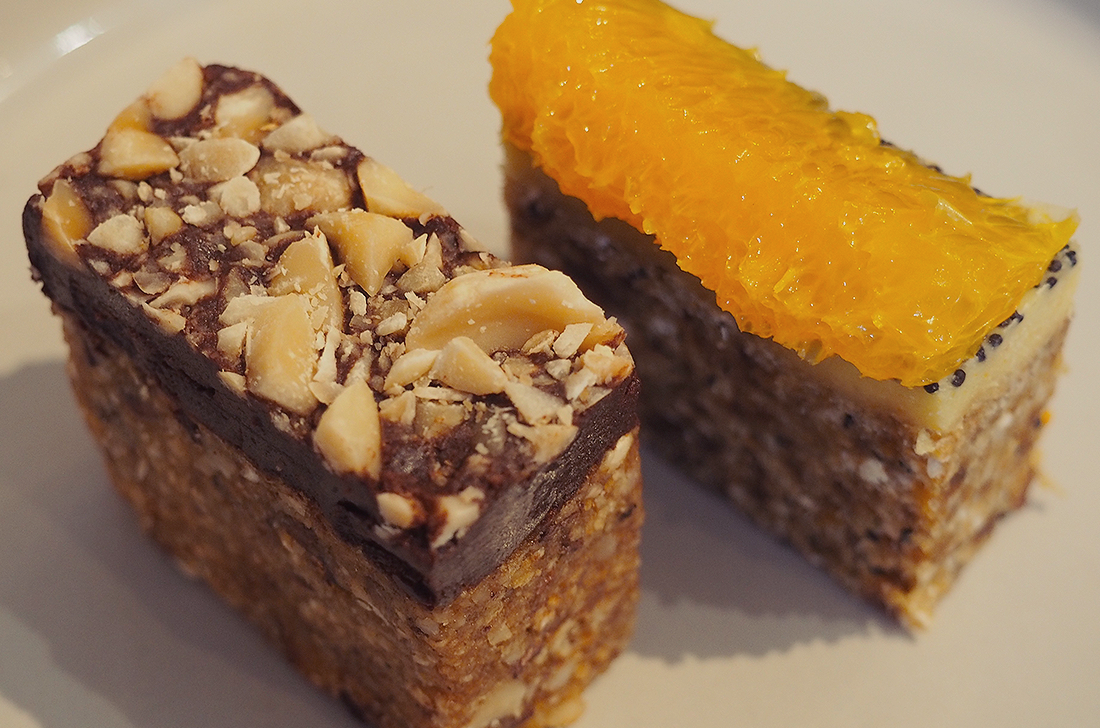 Yardmill Kitchen and Grocery Raw Vegan High Tea Blog Review - snickers slice and orange and poppy seed