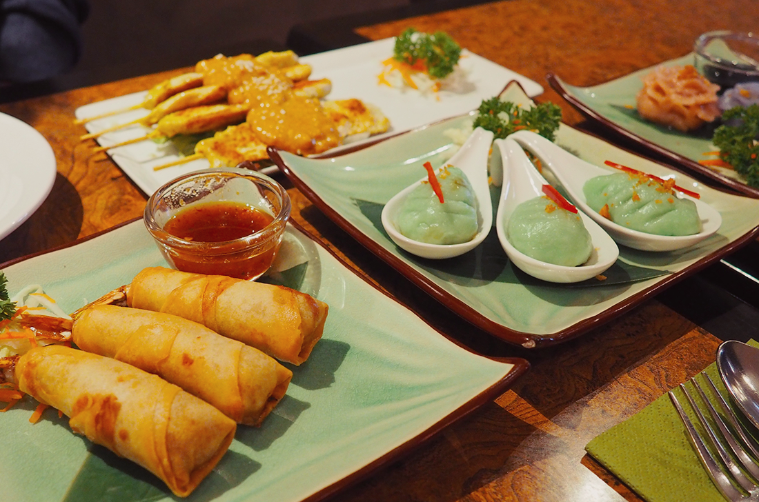 Palm Sugar Royal Thai Richmond Blog Review - bai yok chicken satay spring roll palm blossom