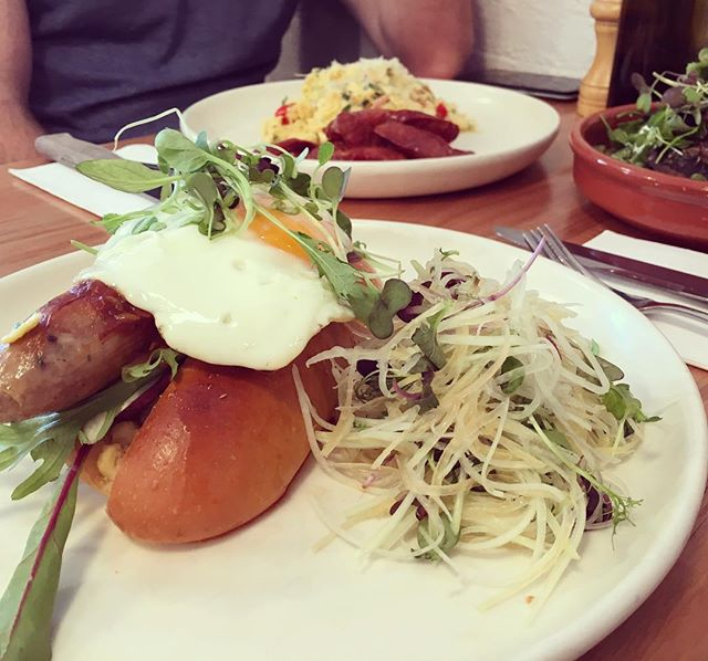 When you're not sure how to tackle a Breakfast Hotdog when the Chilli Scramble eggs with Chorizo also wants an appearance: http://www.jojoandlili.com/blog/23/04/2016/finders-keepers-cafe-hawthorn