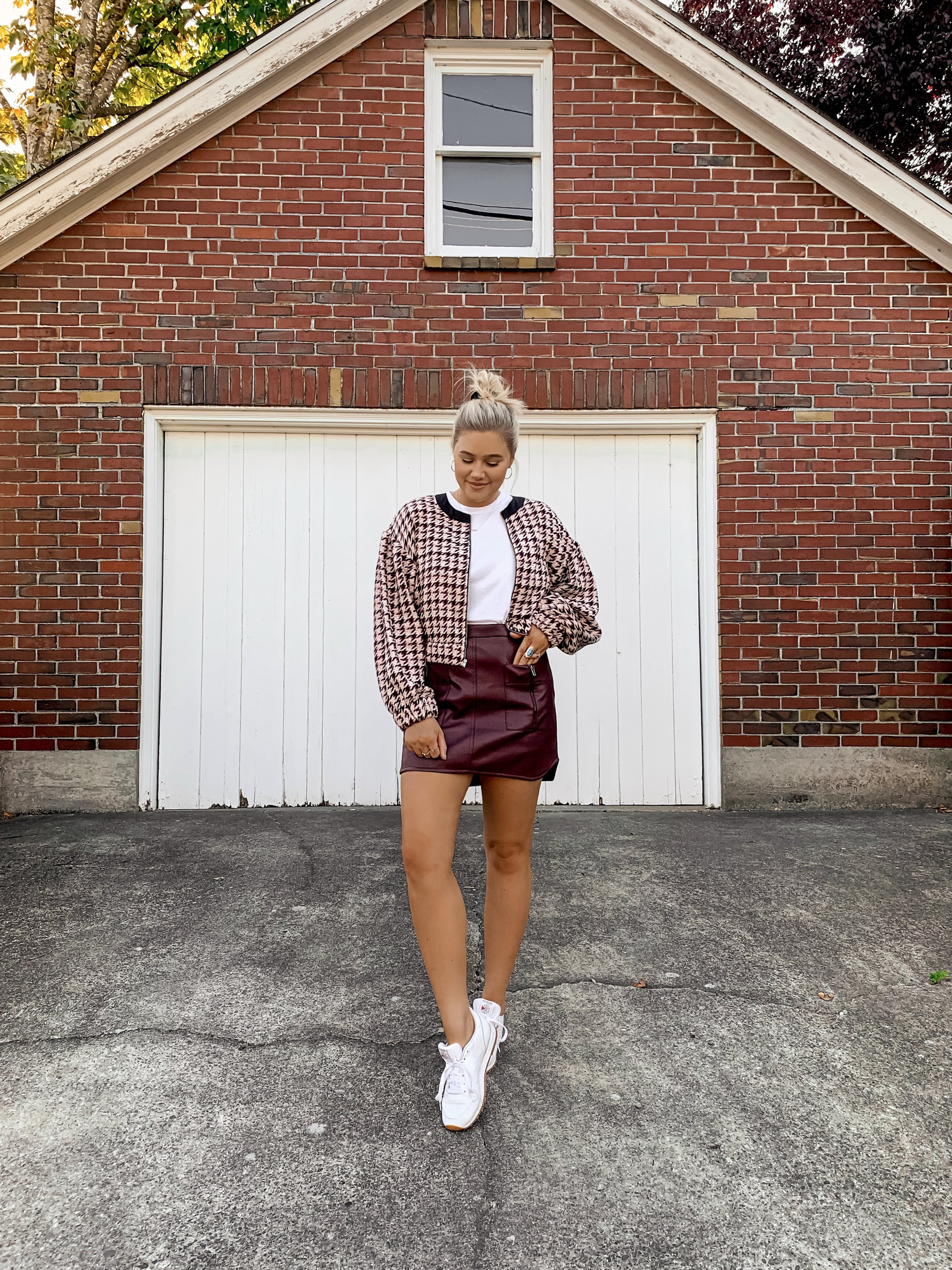 Bre Sheppard Bloomingdale's Fall Fashion - Tweed Jacket + Leather Skirt