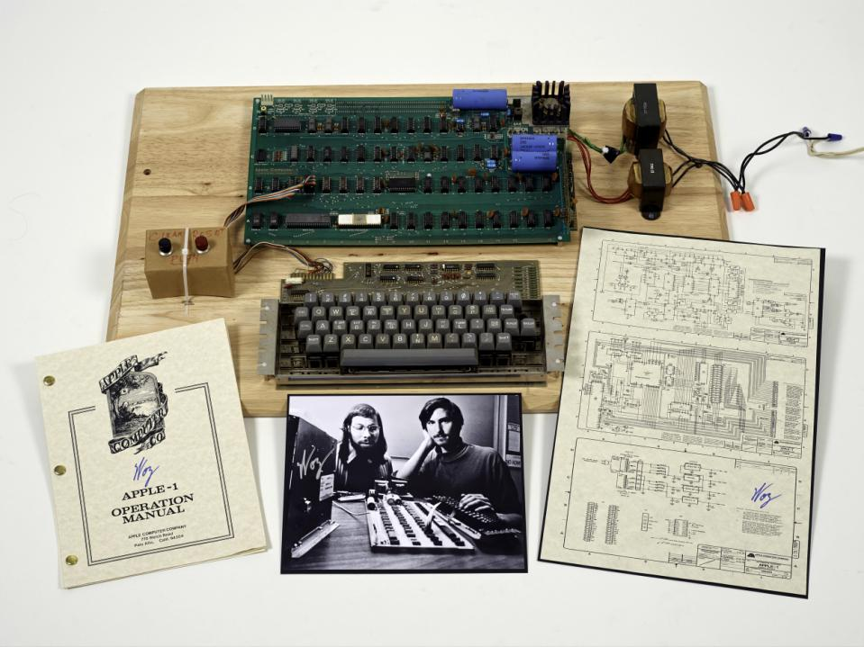 """An""""Apple 1"""" prototype computer circa 1976. Today, new hardware includes wearables, smart medical devices, and basically anything with a sensor in it that's hooked up to WiFi or Bluetooth.Photo courtesy ofChristie's Auction House."""