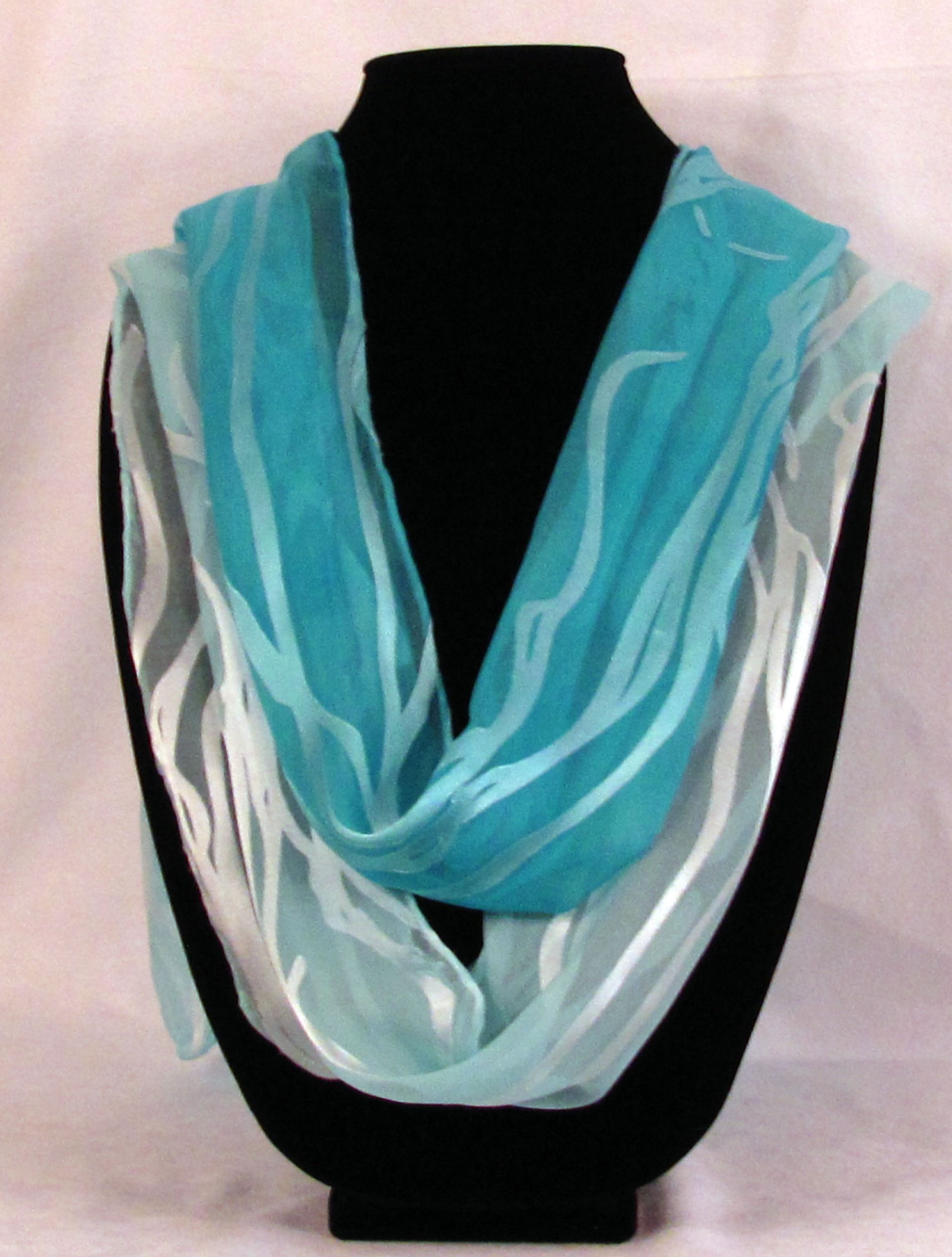 Hand Dyed   Gem Scarves  in Turquoise and Blue Topaz (the lighter blue)