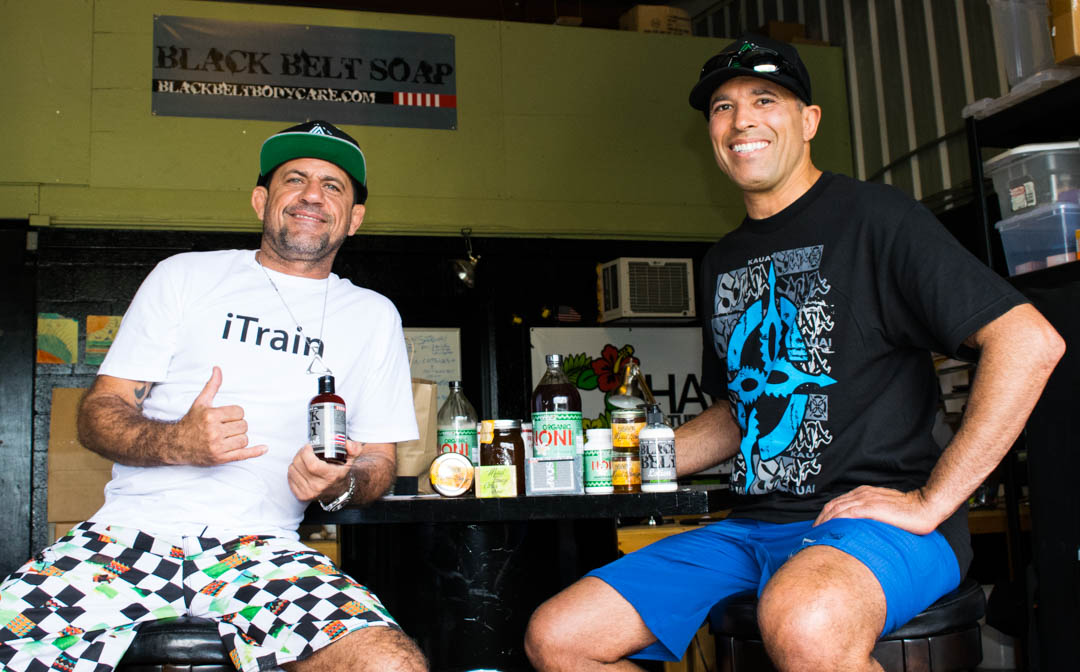 "MMA hall of fame and Bjj legend Royce Gracie and Professor Luis ""Limao"" Heredia stopping by the Black Belt factory on a sunny Hawaiian afternoon."