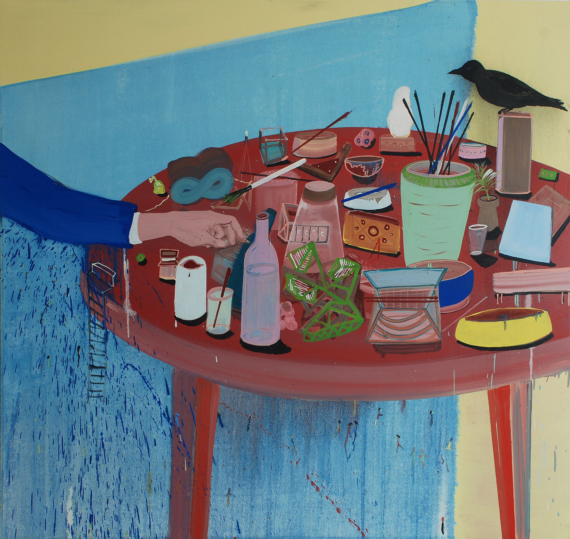 Round Table with Black Bird, 2008    Oil on canvas, 163x162 cm
