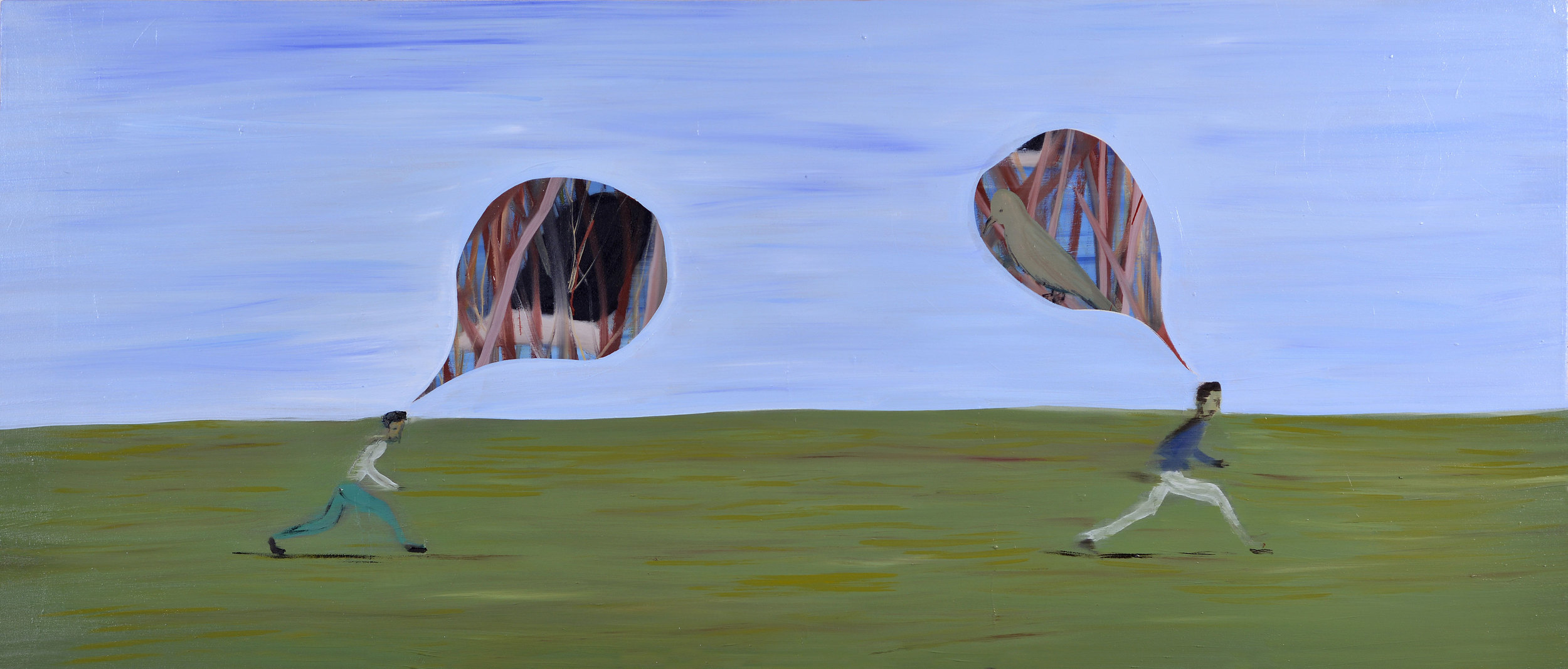 The Chase of Thoughts, 2013    Oil on canvas, 85x200 cm