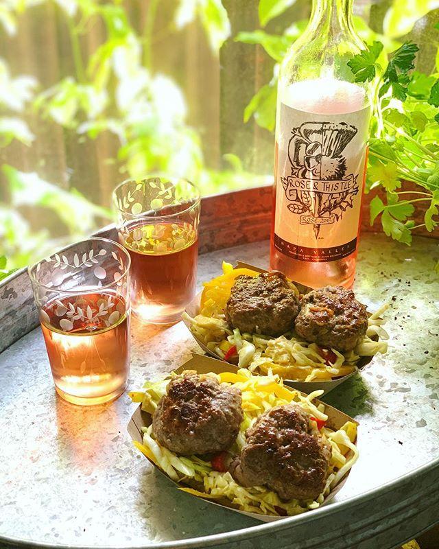#summer #slaw & #grassfed #burgers in the making / #rosé countdown to summmmer #rosethistlerosé