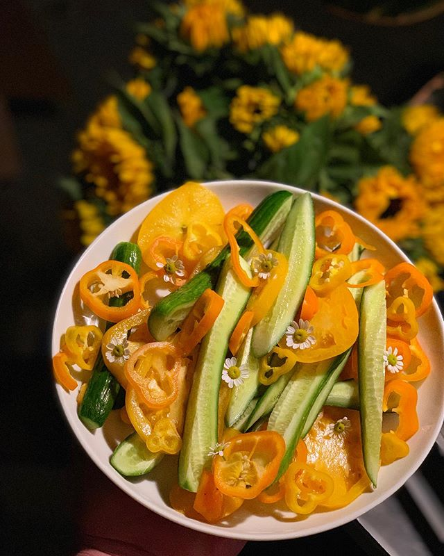 #gold goes good w #rosé   just #cucumbers gold & #yellow #tomatoes & #peppers & #chamomile #flower #garnish   put whatever you want on them   we put #sunflowers behind them 👡 sides of #rosé pls