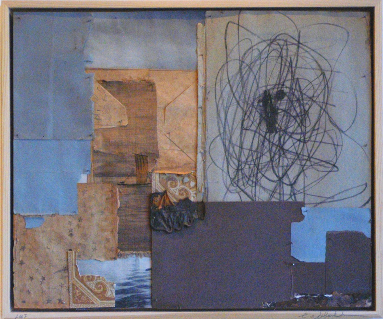 Gypsy Series, Ship and Scribble, 2007, 16X20in, mixed media, nails on wood, web.jpg