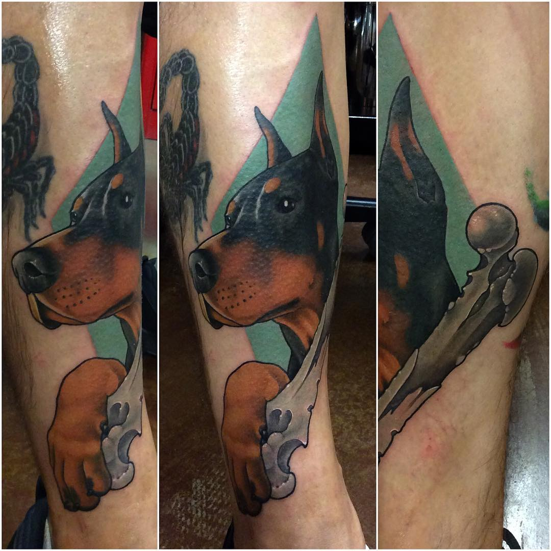 tiffer dog - Neo Traditional Tattoo Dog