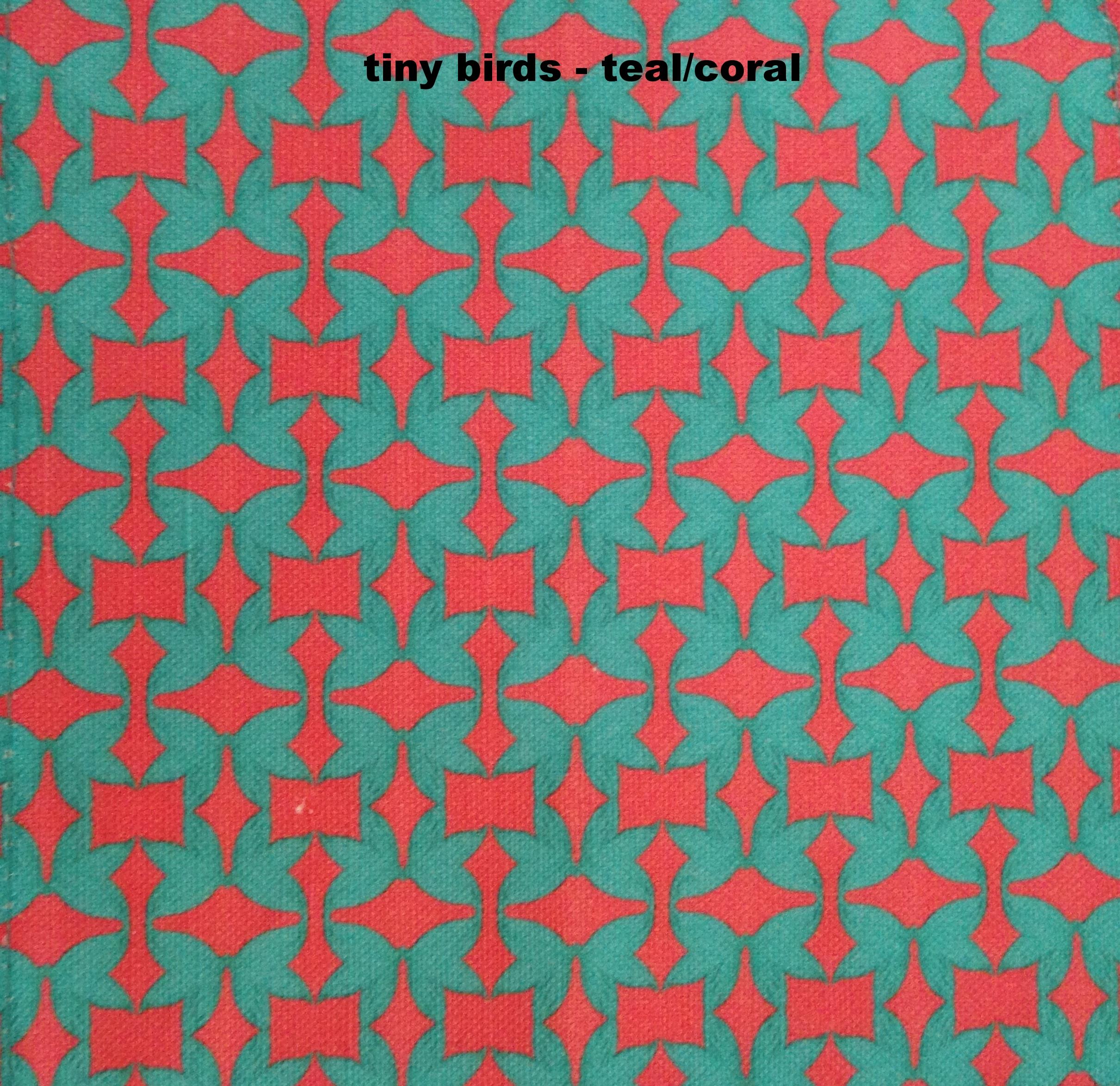 tiny birds- coral/teal