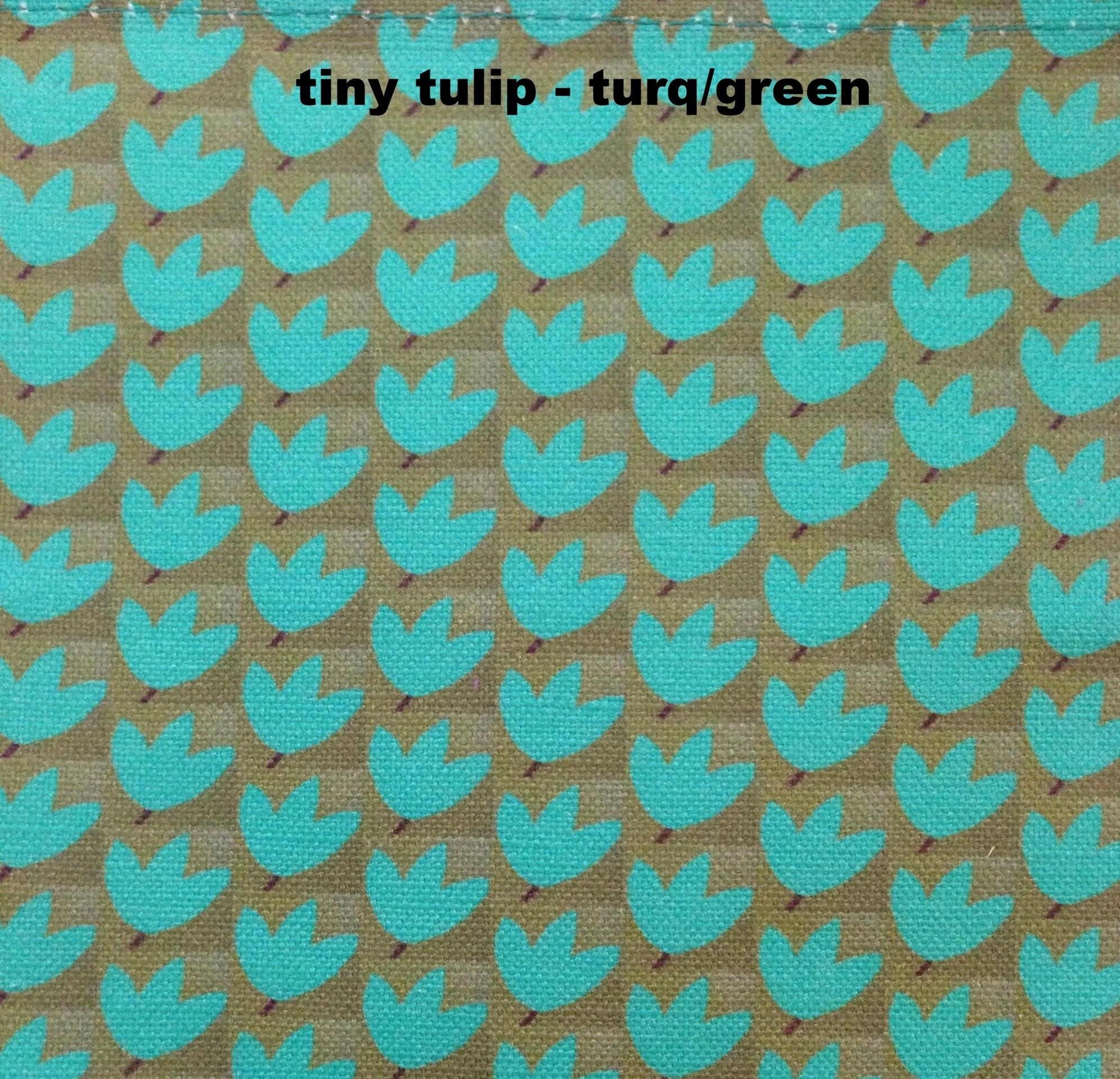 tiny tulip/turq on green