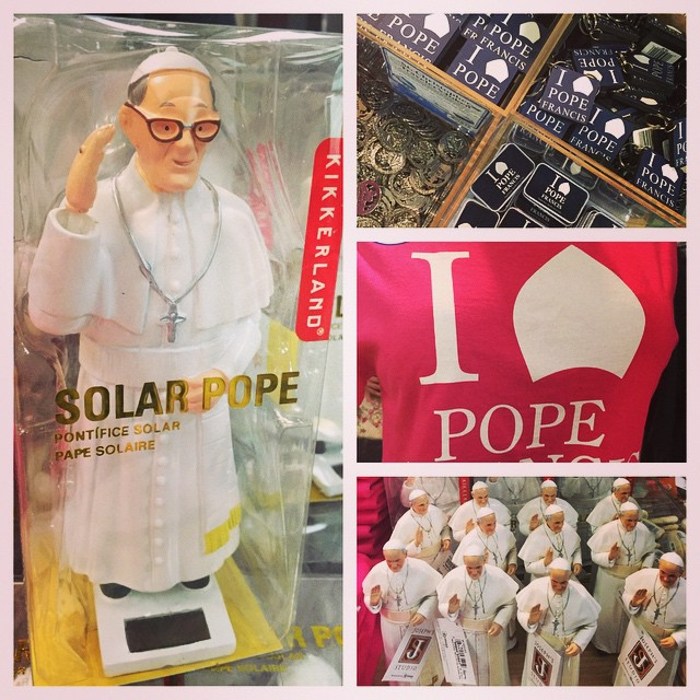 #Capitalism turnt up for upcoming #PopeFrancis visit. #popeswag #reststop #solarpope