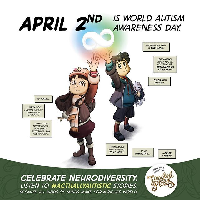 Here's my contribution to World Autism Awareness Day 2018. Be a friend to someone who's different. Let's embrace neurodiversity. #tangledpines #comics #neurodiversity #waad2018 #autism #autismawareness #autismappreciation #actuallyautistic