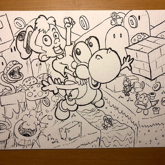 Itsa Uncle Ben's latest birthday card! This one is for Silas, who's just turned five and is all about his Mario. #birthdaycard #ink #nintendo #yoshi #mario