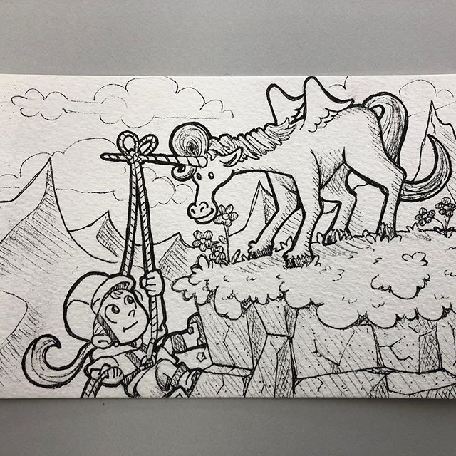 Elvina just turned eight and asked to go rock climbing with a unicorn. Can't ask for a better prompt than that! #birthdaycard #illustration #unicorn #rockclimbing #birthdaygirl #8yearsold #niecesrock