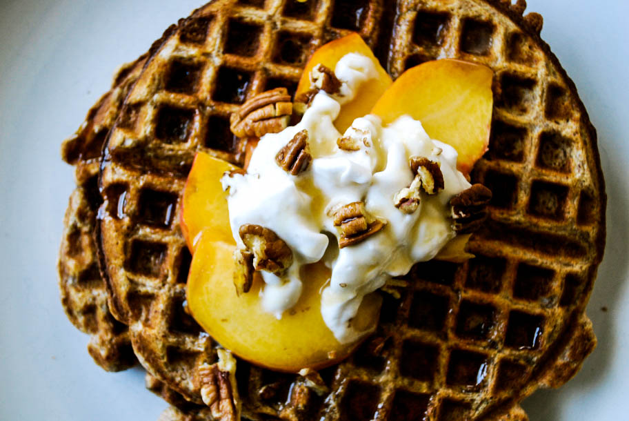 Pecan Waffles with Peaches + Coconut Whipped Cream